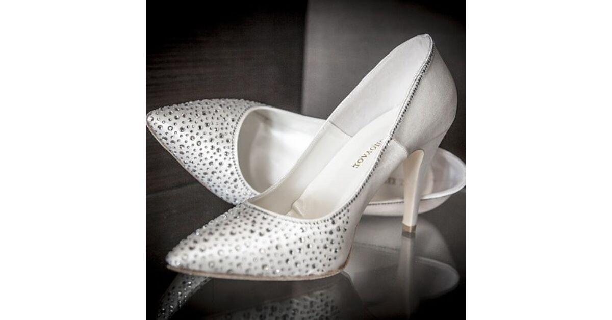 Ezüst szatén alkalmi cipők bokapántos balerina cipő