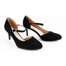 Fekete női pántos magassarkú alkalmi cipő