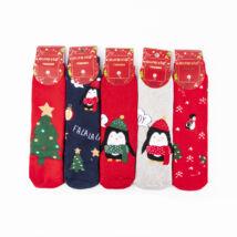Lányka vastag téli zokni csomag (5pár)-karácsonyi mintákkal