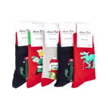 Férfi hosszú szárú téli zokni csomag (5pár)-karácsonyi mintákkal