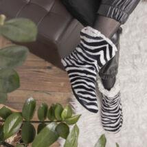 Zebramintás női bundás mamusz