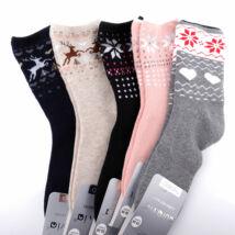 Női téli, hosszú szárú zokni csomag (5pár)-csillag és szarvas mintás