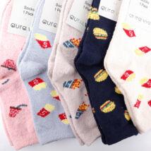 Női téli, hosszú szárú zokni csomag (5pár)- FAST FOOD