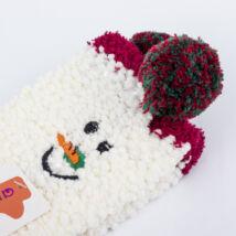 Gyermek zsenília zokni - fehér hóember
