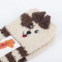 Gyermek zsenília zokni - barna csikos kutyus