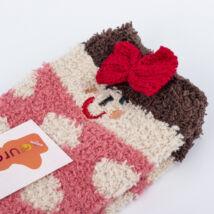 Gyermek zsenília zokni - rózsaszín pöttyös
