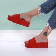 Női piros platform papucs