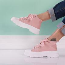Női rózsaszín magas szárú sportcipő