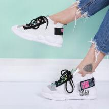 Női fehér magasított talpú zoknicipő