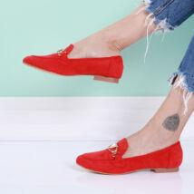 Női piros belebújós utcai cipő