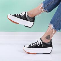Női fekete műbőr platform tornacipő