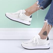 Női fehér sport cipő fémes díszítésű sarokkal