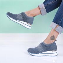 Női kék strasszos zoknicipő