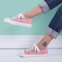 Női rózsaszín csipkés tornacipő