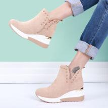 Női bézs magas szárú szegecses cipő