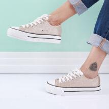 Magasított talpú vászon csillámos női tornacipő