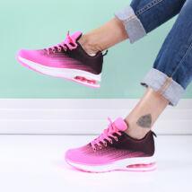Női fukszia-fekete sportcipő légpárnás sarokkal