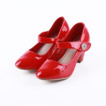 Lány piros magasított sarkú lakkcipő