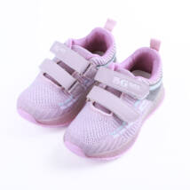 Lány lila sportcipő dupla tépőzárral, világítós talppal