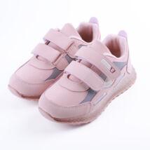 Lány rózsaszín sportcipő dupla tépőzárral, világítós talppal