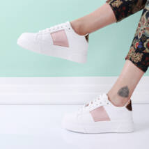 Női fehér-rózsaarany platform sportcipő