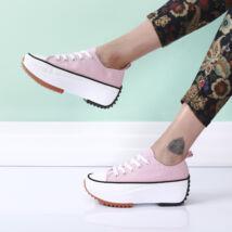 Női rózsaszín vászon platform tornacipő