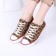 Női leopárdmintás vászon tornacipő