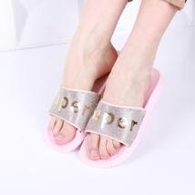 Női rózsaszín strasszos gumi papucs