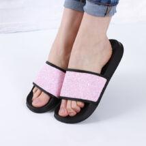 Női rózsaszín csillámos gumipapucs