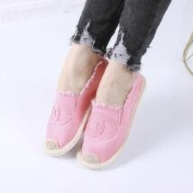 Női rózsaszín belebújós vászoncipő