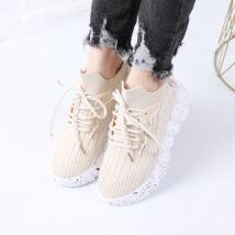 Női bézs platform szövet sportcipő