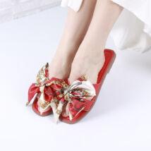 Női piros masnis papucs
