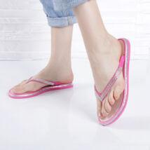 Strasszkövekkel díszített, gumipántos fukszia női lábujjas papucs