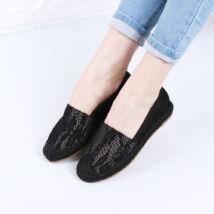 Női fekete csipkés belebújós utcai cipő