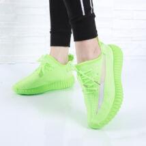 Női neonzöld fűzős zoknicipő