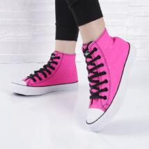 Fukszia vászon félmagas szárú tornacipő, fekete cipőfűzővel