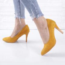 Tűsarkú alkalmi okkersárga női cipő