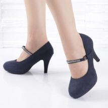 Strasszos bokapántos női sötétkék alkalmi cipő