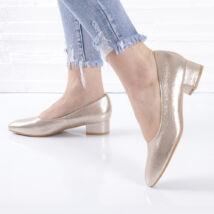 Fényes kocka sarkú arany női alkalmi cipő