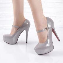 Csillámos tűsarkú női ezüst alkalmi cipő