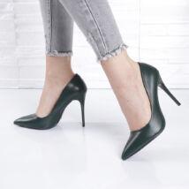 Sötétzöld tűsarkú női alkalmi cipő