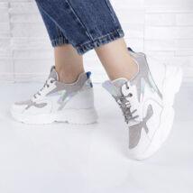 Magasított sarkú-csillámló/hologramos női sportcipő