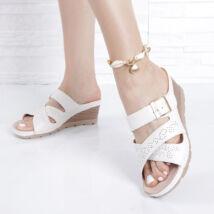 Női fehér anatómiai csatos papucs