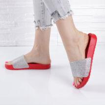Strasszköves piros női gumipapucs
