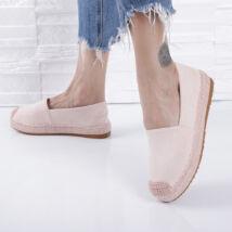 Női  púderrózsaszín magasított talpú belebújós utcai cipő