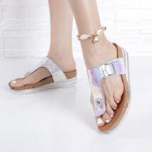 Női ezüst csatos lábujjas papucs