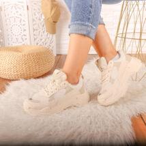 Női bézs magasított talpú sportcipő