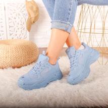 Női kék magasított talpú sportcipő