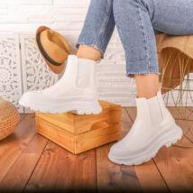 Platformos extravagáns női fehér rövid szárú csizma