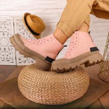 Rózsaszín, fűzős textil bakancs, barna platform talppal